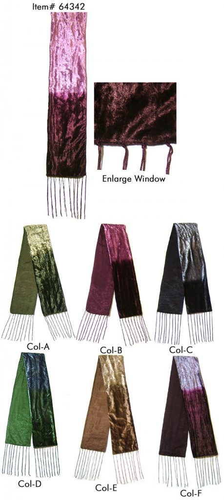 SKINNY SCARF IN TIE DYED VELVET FABRIC WITH TWILL KNOT FRINGES