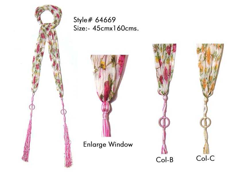 FLORAL PRINTED SKINNY SCARF IN SOFT COTTON FABRIC WITH FANCY TASSLES FOR WOMENS