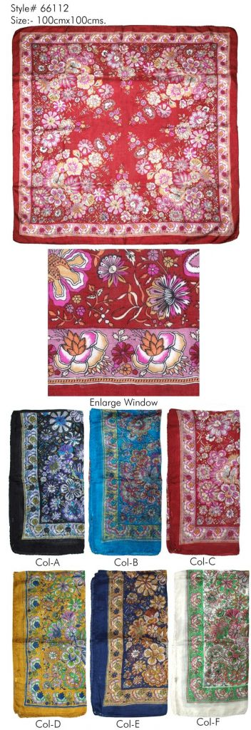 STYLISH FLORAL PRINTED DESIGN SQUARE SCARF IN SOFT SILK FABRIC WITH ALL SIDES STITCHED