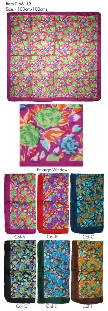 STYLISH FLORAL PRINTED DESIGN SQUARE SCARF WITH CONTRAST BORDER  IN SOFT SILK FABRIC WITH ALL SIDES