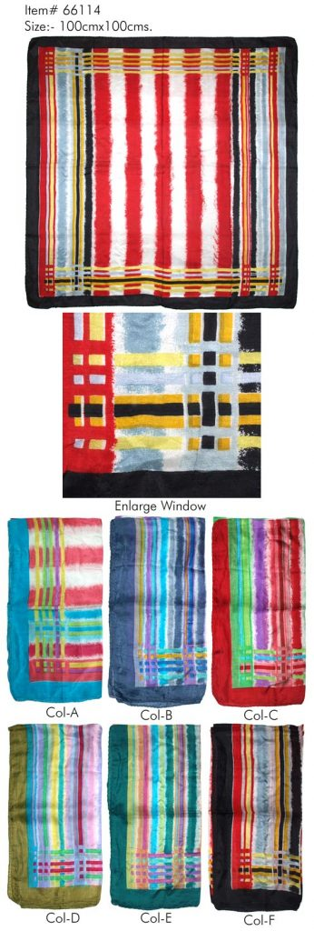 STYLISH MULTI STRIPES PRINTED DESIGN SQUARE SCARF WITH CONTRAST BORDER  IN SOFT SILK FABRIC WITH ALL