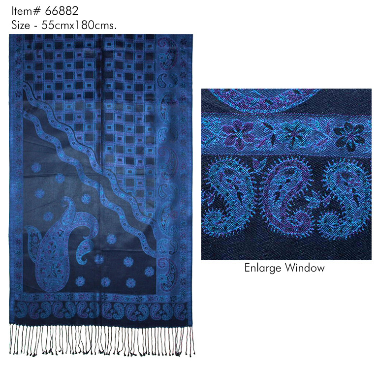 STYLISH PASILEY DESIGN PRINTED STOLE IN SOFT SILK JAQUARE WITH TWILL KNOT FRINGES