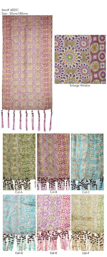 STYLISH MOTIF PRINTED DESIGN  SCARF   IN SOFT SILK FABRIC WITH FANCY BEADED TASSELS