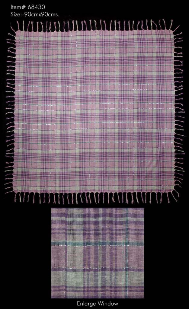 ALL OVER CHECKS PRINTED SQUARE SCARF WITH LUREX AND ALL FOUR SIDES SELF KNOT FRINGES