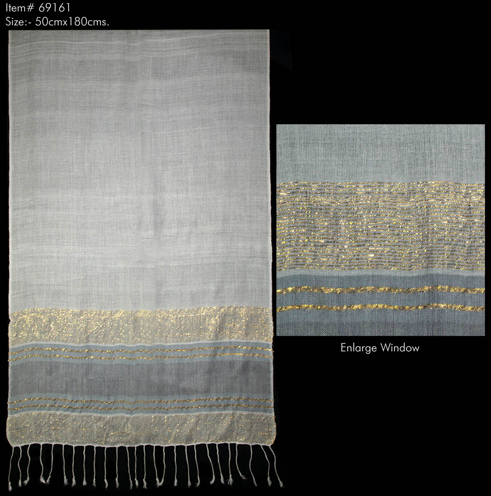VISCOSE LUREX YARN DYED SHAWL WITH  TWILL SELF KNOT FRINGES