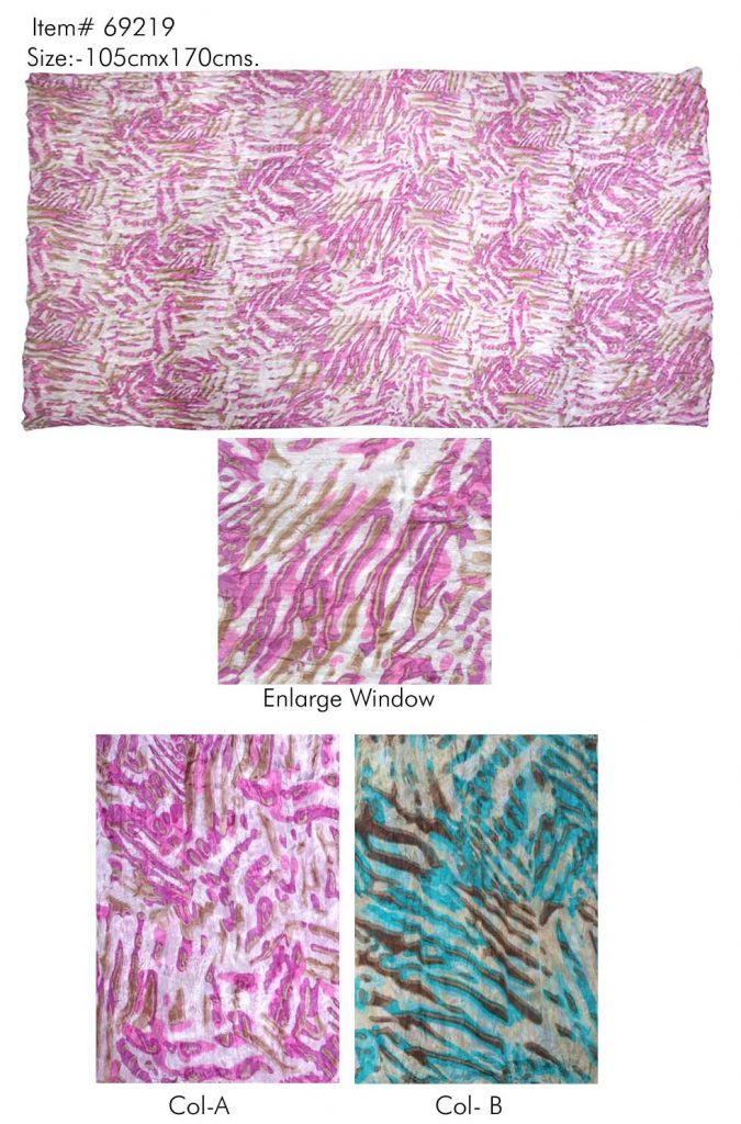 STOLE IN ANIMAL SKIN DESIGN PRINT IN SOFT SILK FABRIC WITH ALL SIDES STITCHED