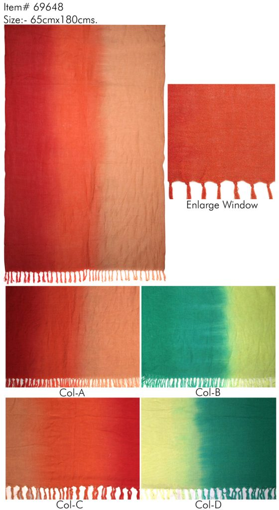 TIE - DYE STOLE IN SOFT VISCOSE FABIRC WITH CRINKLE AND SELF KNOT FRINGES