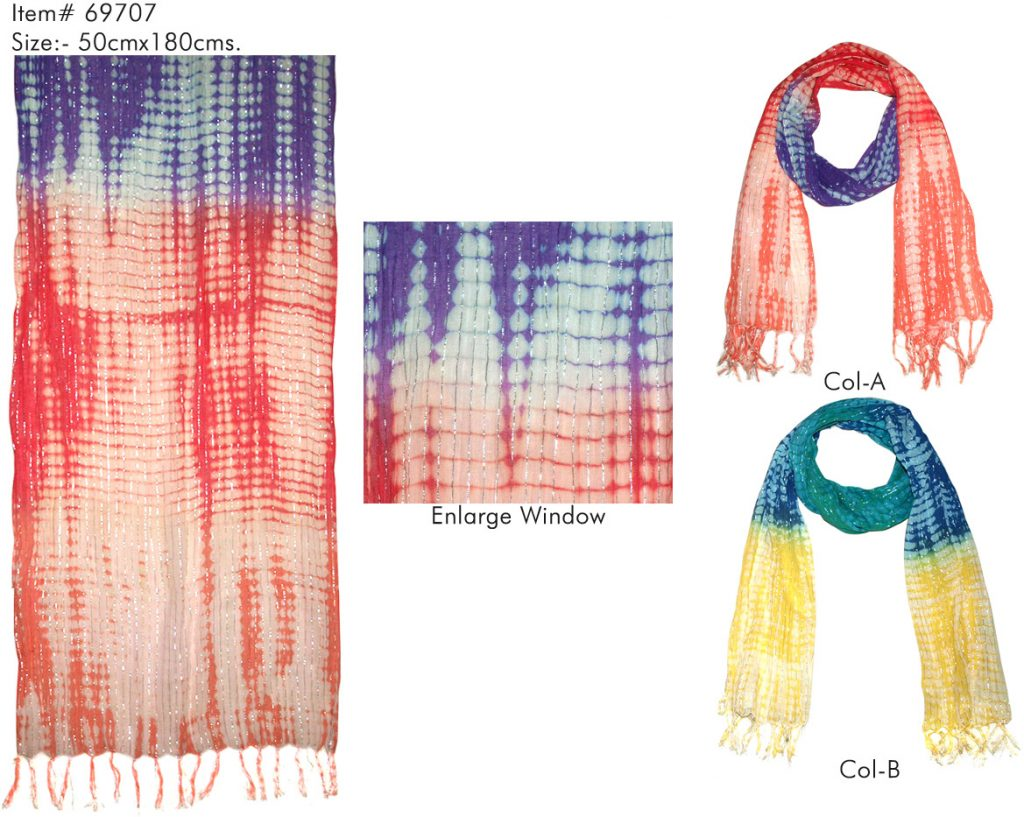 TIE-DYE STOLE IN SOFT COTTON LUREX FABRIC WITH SELF KNOT FRINGES