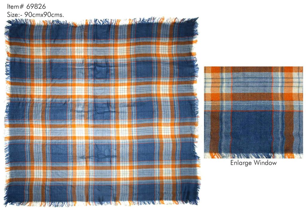 ALL OVER CHECKS PRINTED SQUARE SCARF IN SOFT VISCOSE FABRIC AND ALL FOUR SIDES SELF KNOT   FRINGES