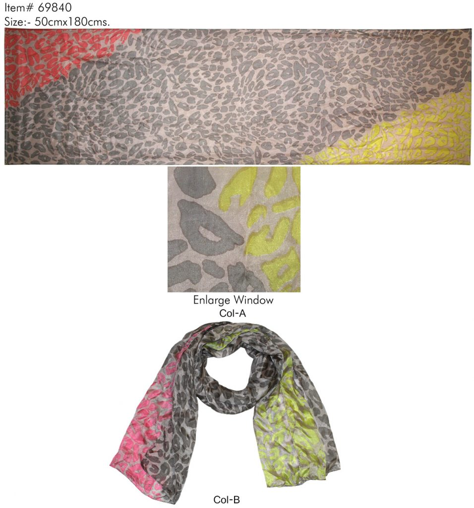 ANIMAL SKIN DESIGN PRINTED SCARF IN SOFT SILK FABRIC WITH ALL SIDES STITCHED