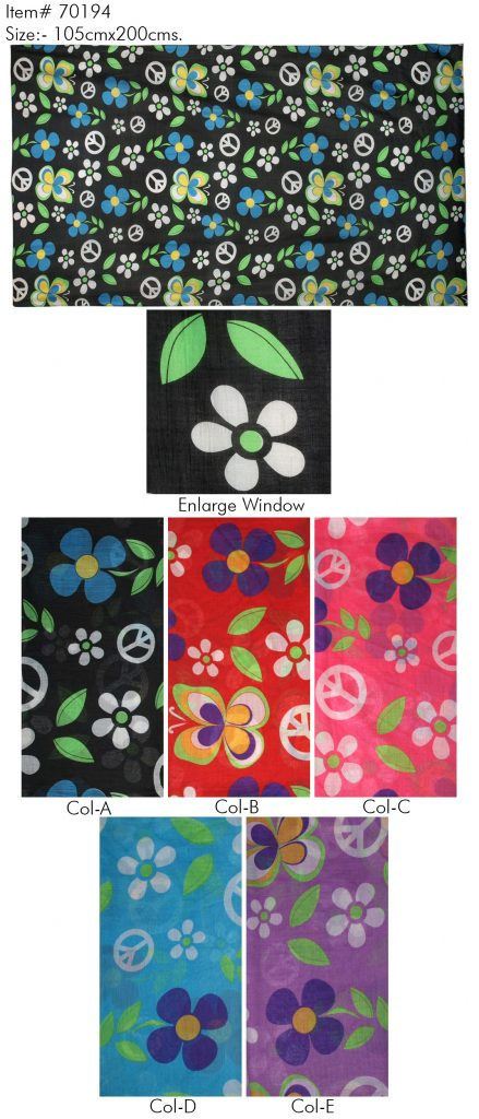 POLYESTER FLORAL PRINTED SARONG WITH ALL SIDES STITCHED FOR WOMENS