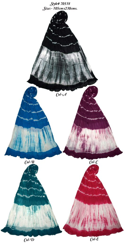 TIE-DYE STOEL IN COTTON FABRIC WITH CRINKLE AND SELF KNOT FRINGES