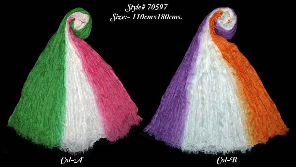 OMBREY DYED STOLE IN SOFT VISCOSE MODAL FABRIC WITH CRINKLE AND EYELASH FRINGES