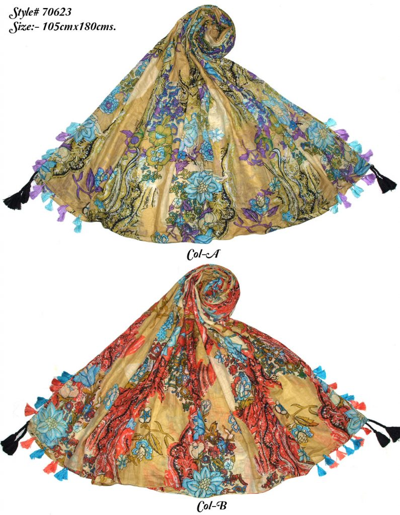 FLORAL DESIGN PRINTED SARONG WITH ALL FOUR CORNERS TASSELS,GONDA, FRINGES ONLY FOR WOMENS