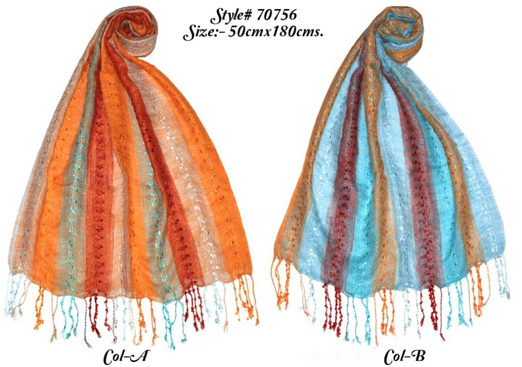 VISCOSE STRIPES YARN DYED SHAWL WITH SELF KNOT FRINGES