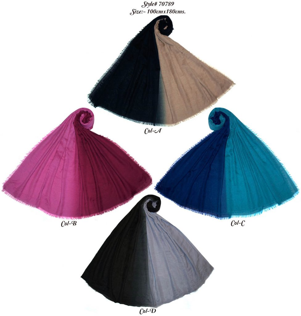 TIE DYE STOLE IN SOFT POLYESTER SPUN FABRIC WITH ALL SIDES EYELASH FRINGES