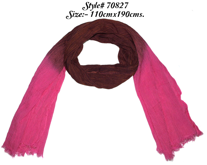 OMBRE DYED STOLE IN SOFT MODAL COTTON FABRIC WITH CRINKLE AND EYELASH FRINGES