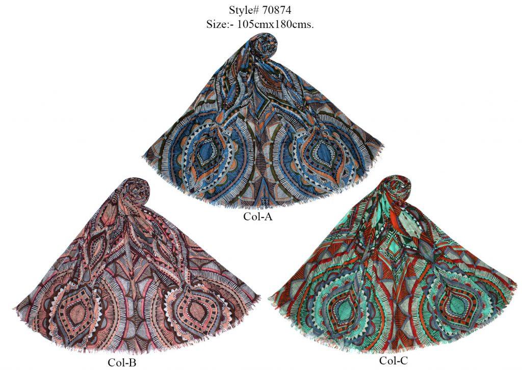 GEOMETRIC DESIGN PRINTED SARONG WITH EYELASH FRINGES FOR WOMENS
