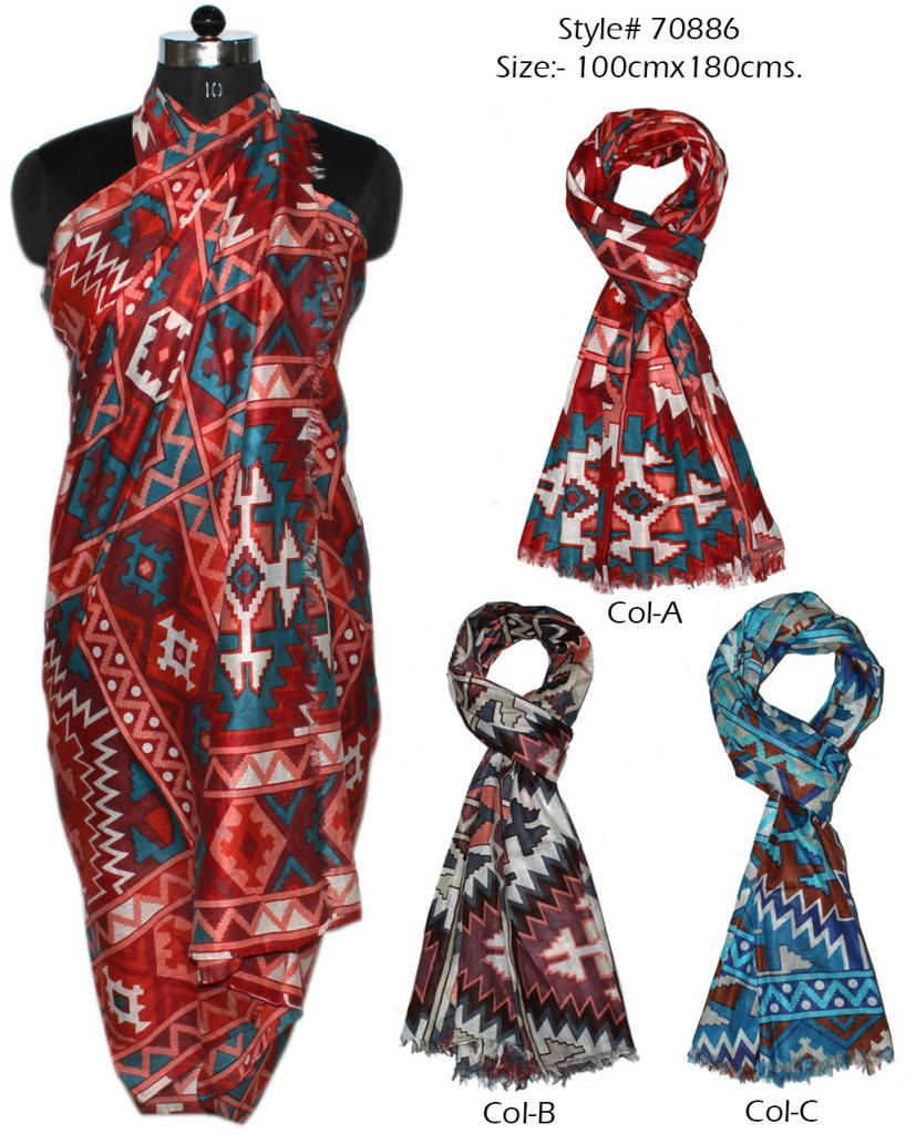 ALL OVER GEOMETRIC DESIGN PRINTED SARONG WITH EYELASH FRINGES FOR WOMENS