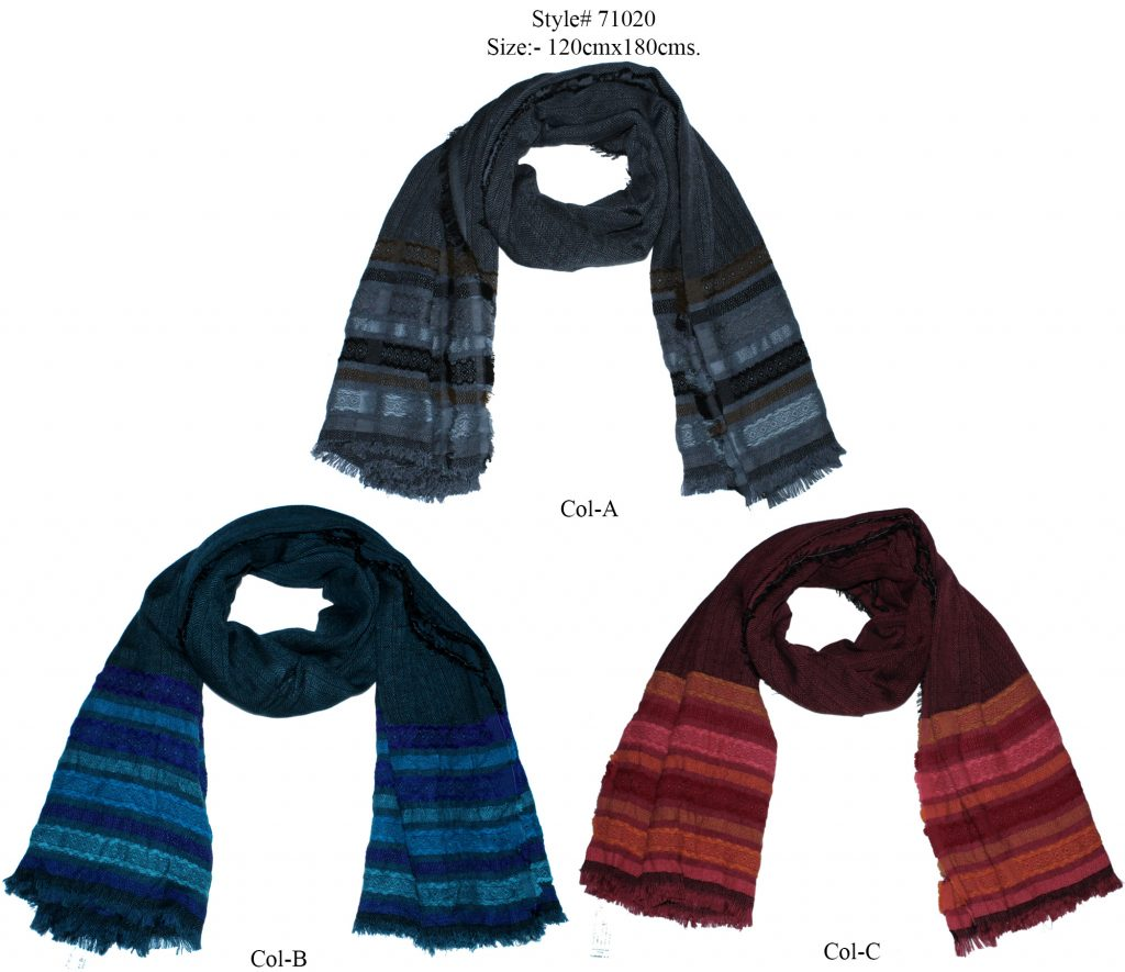 YARN DYED STOLE IN SOFT MODAL, POLYESTER, ACRYLIC WITH ALL SIDES EYELASH FRINGES