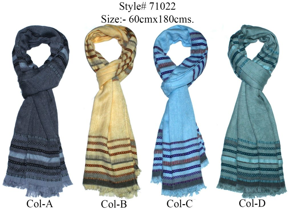 YARN DYED MULTI STRIPES STOLE IN SOFT MODAL, POLYESTER, ACRYLIC WITH ALL SIDES  EYELASH   FRINGES