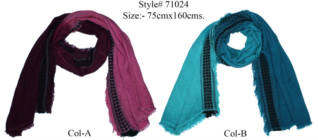 TIE DYE STOLE IN SOFT MODAL,POLYESTER, ACRYLIC WITH ALL SIDES EYELASH FRINGES