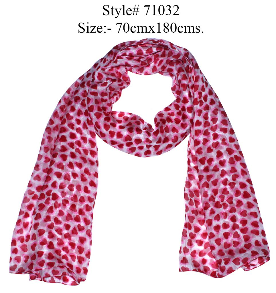 ALL OVER HEART PRINTED STOLE IN SOFT SILK FABRIC WITH ALL SIDES STITCHED