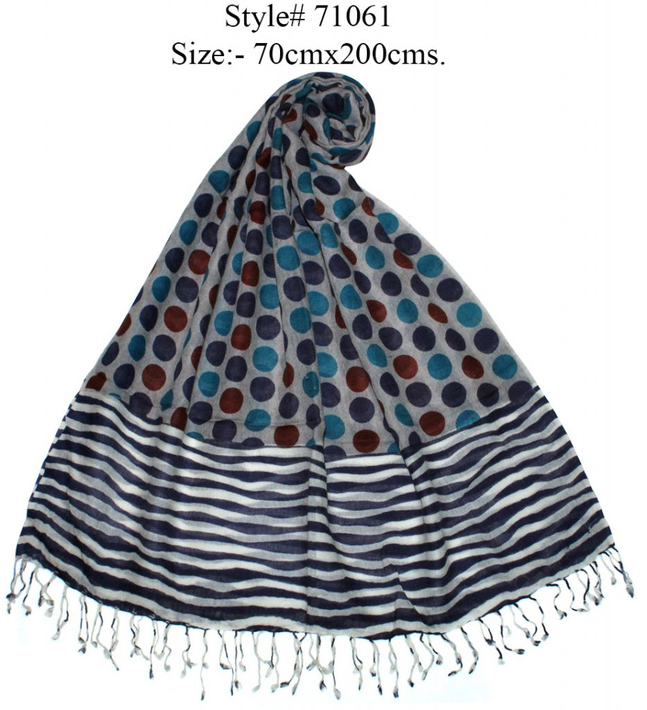 POLKA DOT AND STRIPES PRINTED SHAWL WITH SELF KNOT FRINGES