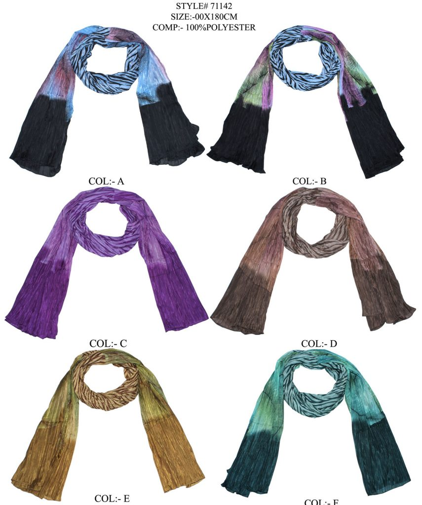 TIE DYE PRINTED STOLE IN SOFT POLYESTER FABRIC WITH CRINKLE AND ALL SIDES STITCHED