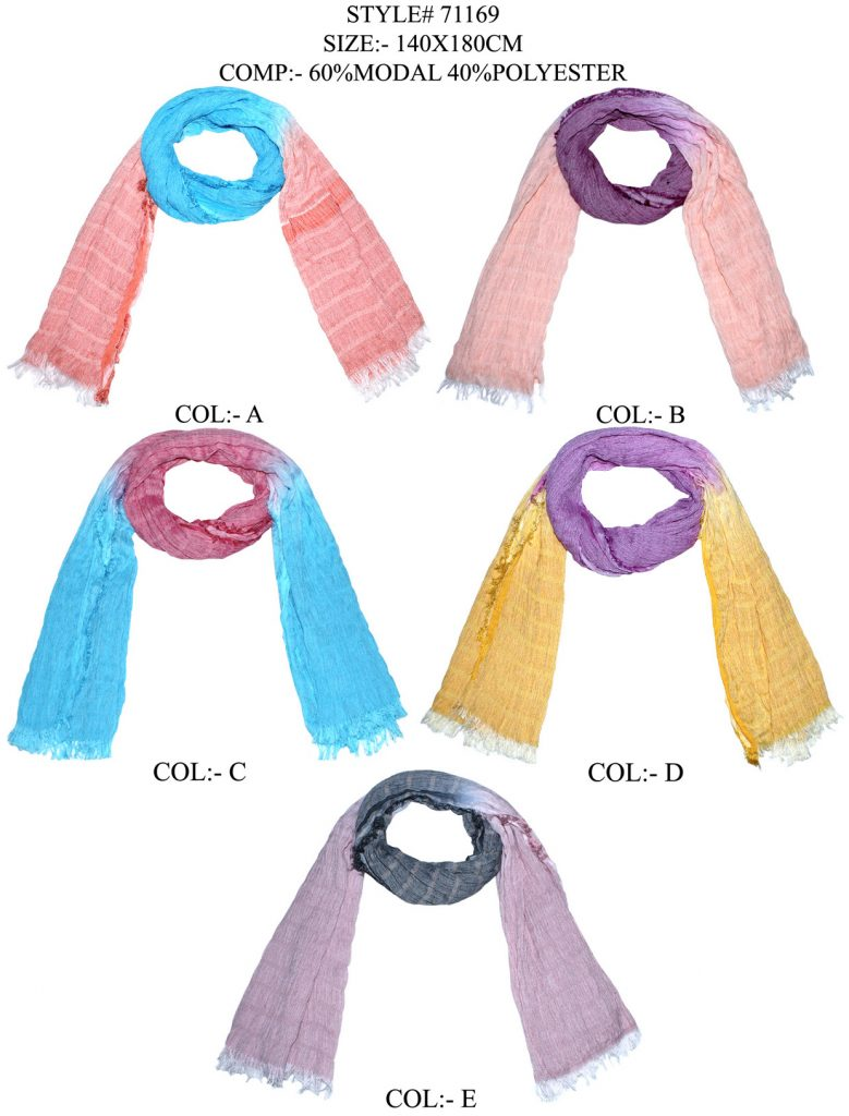 TIE DYE STOLE IN SOFT MODAL,POLYESTER FABRIC WITH EYELASH FRINGES
