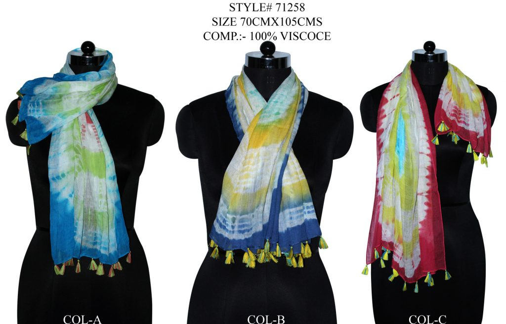 TIE DYE STOLE IN SOFT VISCOSE FABRIC WITH FANCY TASSELS