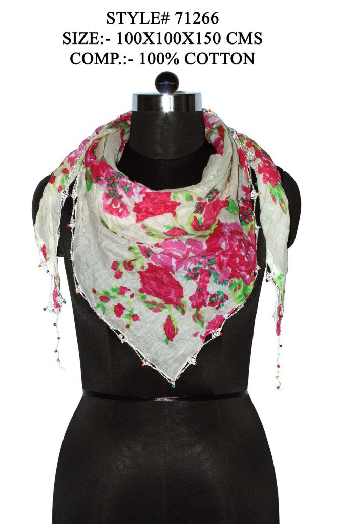 ALL OVER FLORAL PRINTED TRIANGLE IN SOFT COTTON FABRIC WITH BEADED LACE