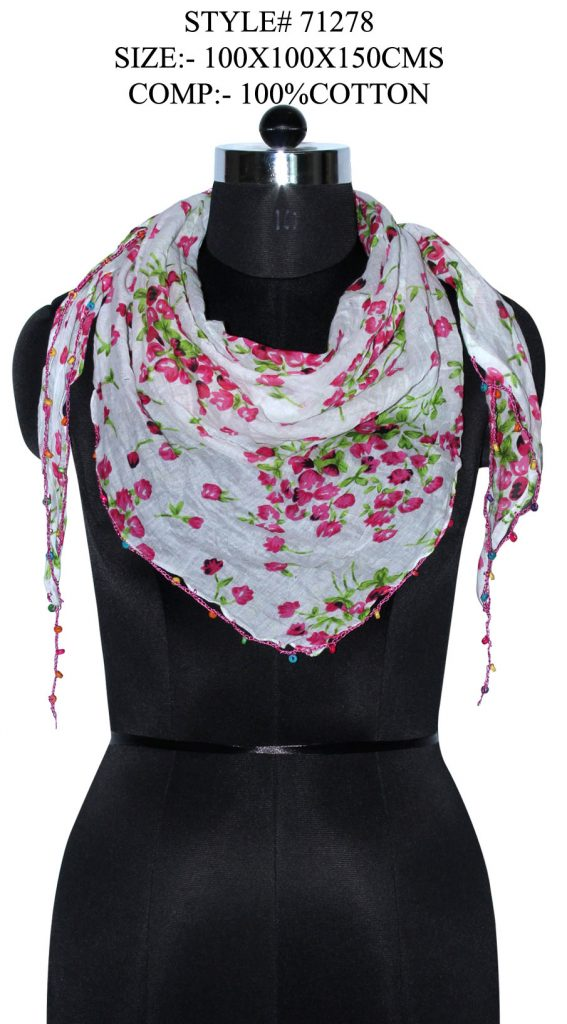 ALL OVER SMALL FLORAL PRINTED TRIANGLE IN SOFT COTTON FABRIC WITH FANCY LACE