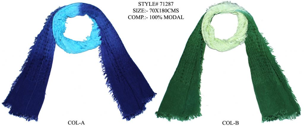 TIE DYE STOLE IN SOFT MODAL FABRIC WITH ALL SIDES EYELASH FRINGES