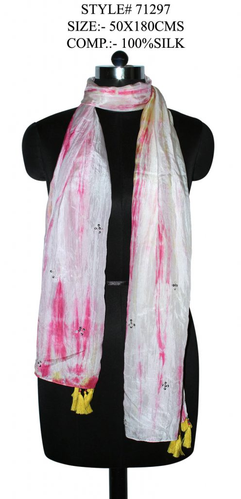 TIE DIE STOLE IN SOFT SILK FABRIC WITH SEQUENCE EMBROIDERY AND STYLISH TASSELS