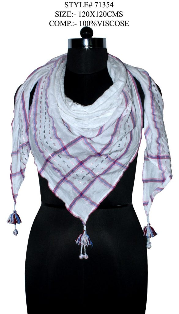 CHECKS PRINTED SQUARE SCARF IN SOFT VISCOSE FABRIC WITH FANCY TASSLES
