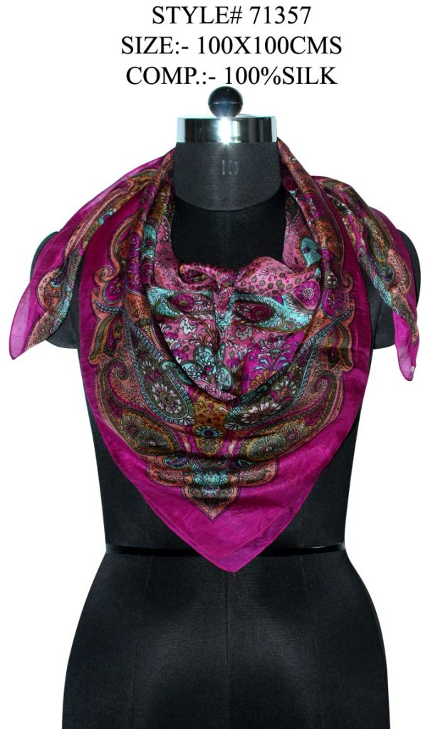 STYLISH MOTIF PASILEY PRINTED DESIGN SQUARE SCARF  IN SOFT SILK FABRIC WITH ALL SIDES STITCHED