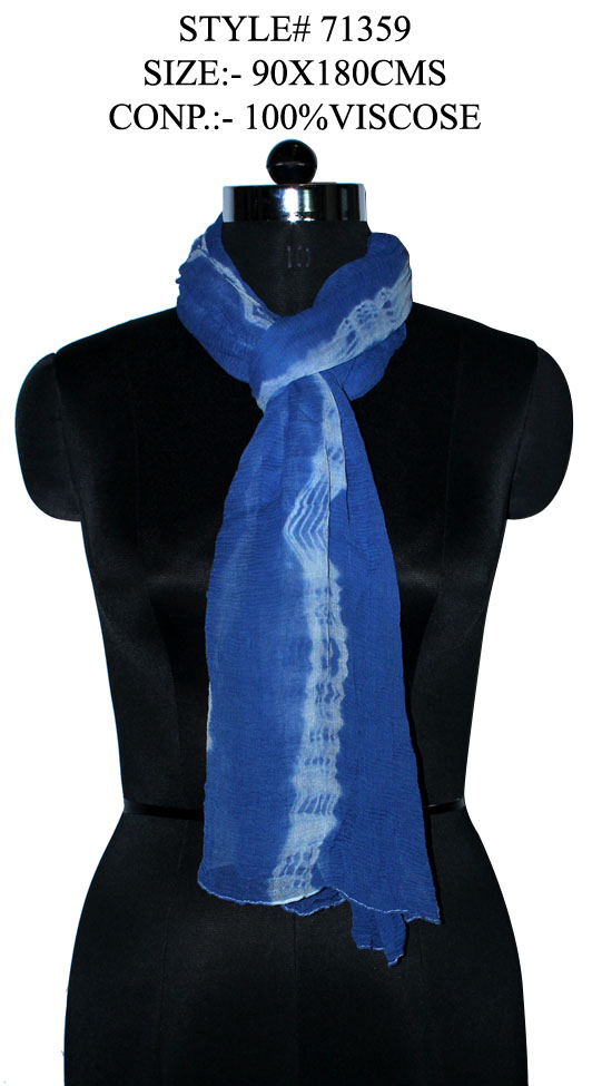 TIE DYE STOLE IN SOFT VISCOSE FABRIC WITH CRINKLE AND ALL SIDES STITCHED