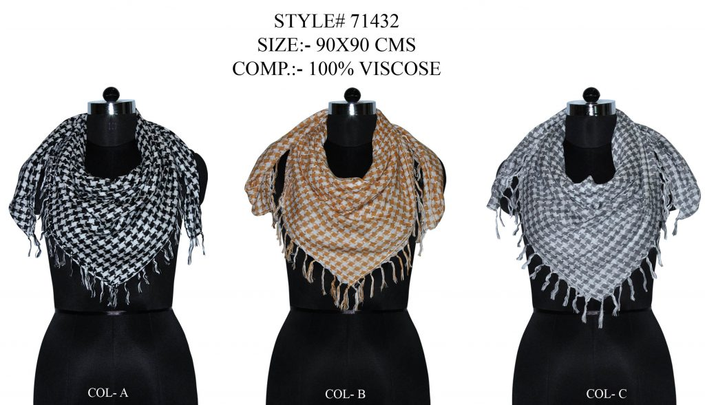 STAR PRINTED SQUARE SCARF IN SOFT VISCOSE FABRIC WITH ALL SIDES SELF KNOT FRINGES FOR   MENS
