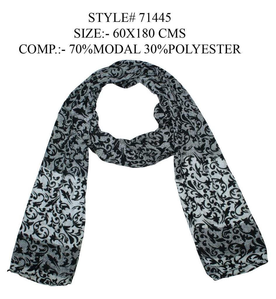 MOTIF PRINTED YARN DYED STOLE IN SOFT MODAL,POLYESTER FABRIC WITH ALL SIDES STITCHED