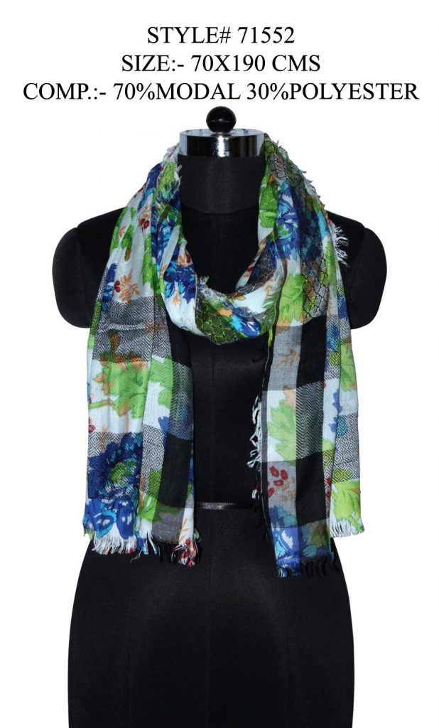 FLORAL PRINTED YARN DYED STOLE IN SOFT MODAL FABRIC WITH ALL SIDES EYELASH FRINGES