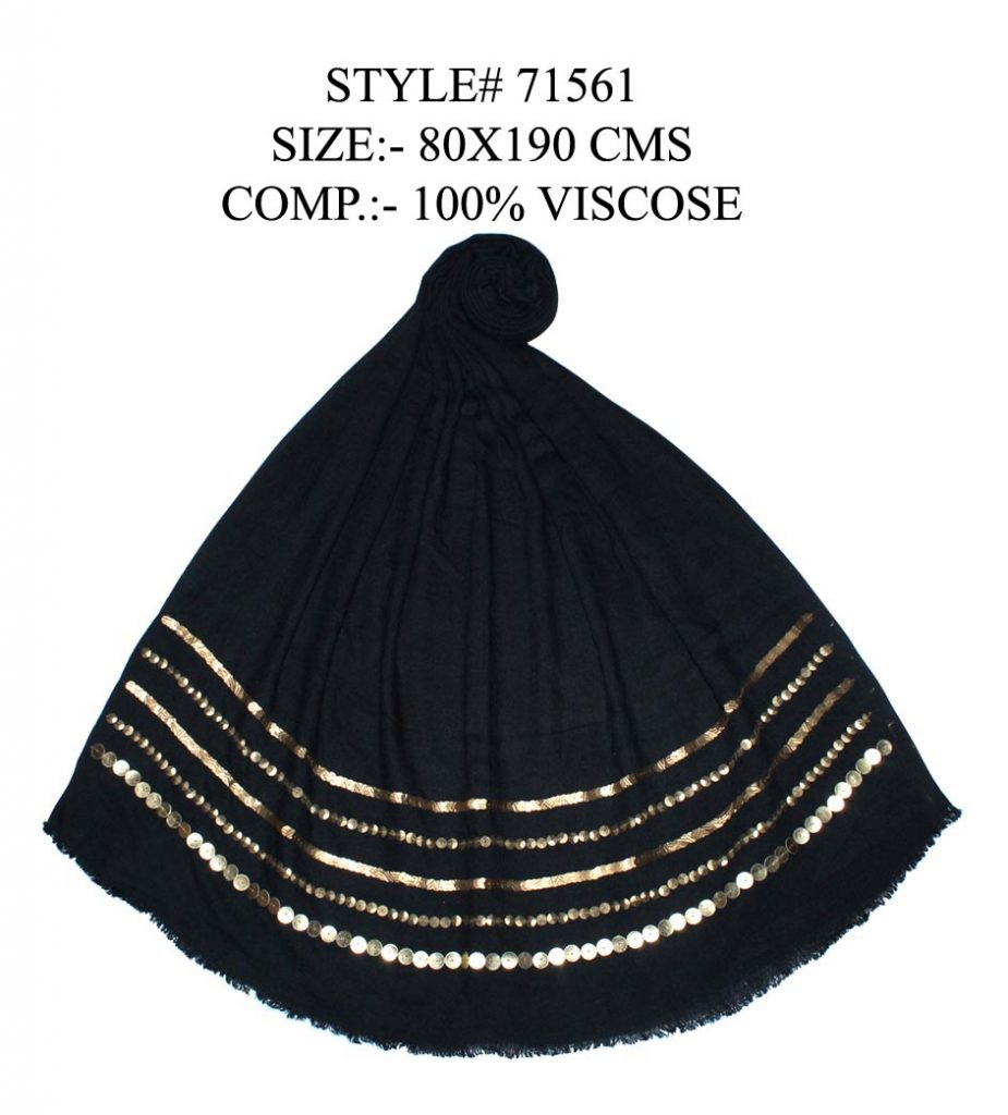 BLACK STOLE WITH GOLDEN SEQUENCE EMBROIDERY WITH EYELASH FRINGES FOR WOMENS