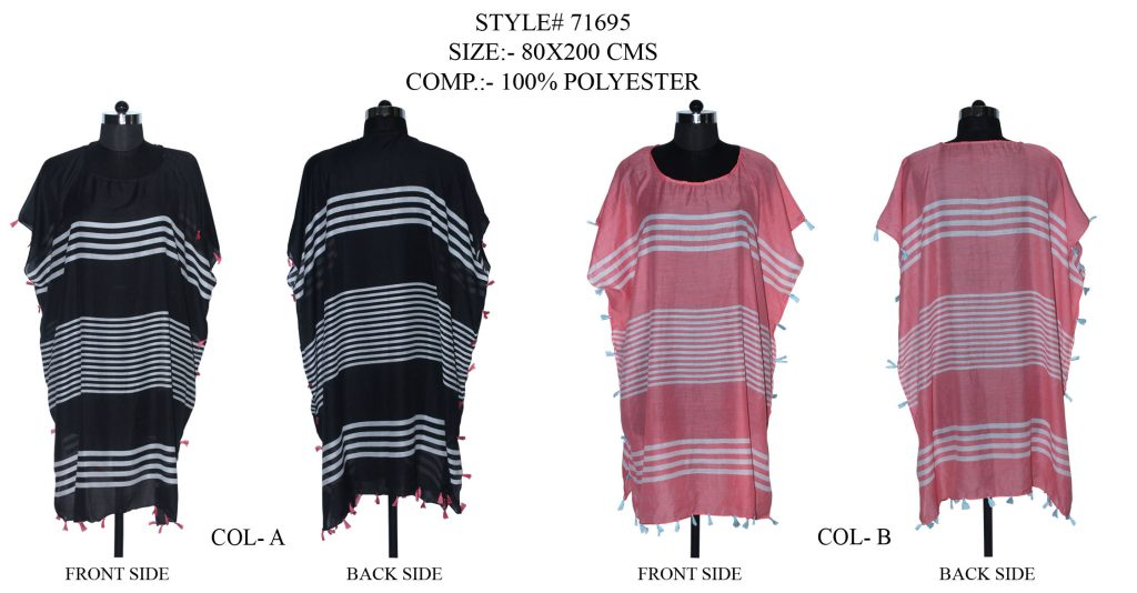 STRIPE PRINTED KAFTAN WITH FANCY TASSESL/ FRINGES WITH MULTI COLOURS FOR WOMENS