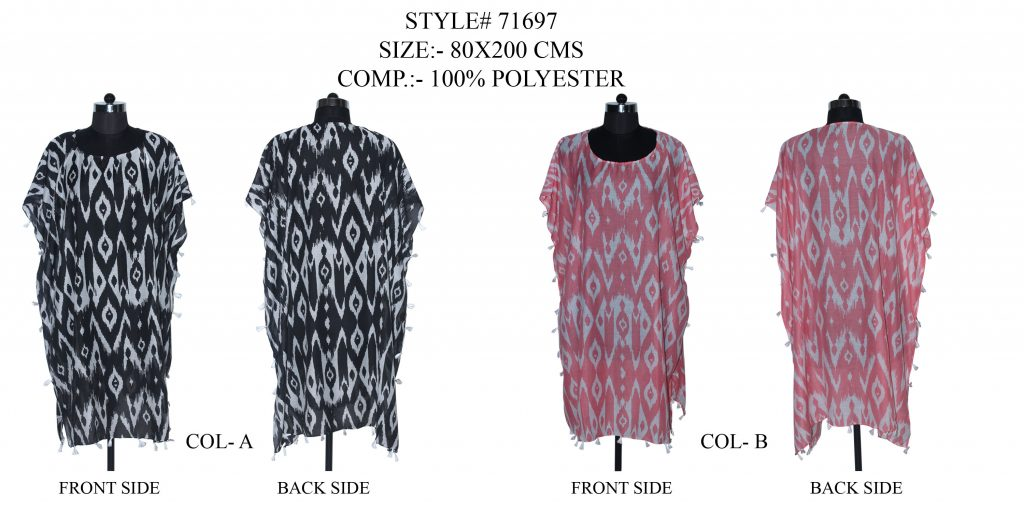 IKAT PRINTED KAFTAN WITH FANCY TASSESL/ FRINGES WITH MULTI COLOURS FOR WOMENS