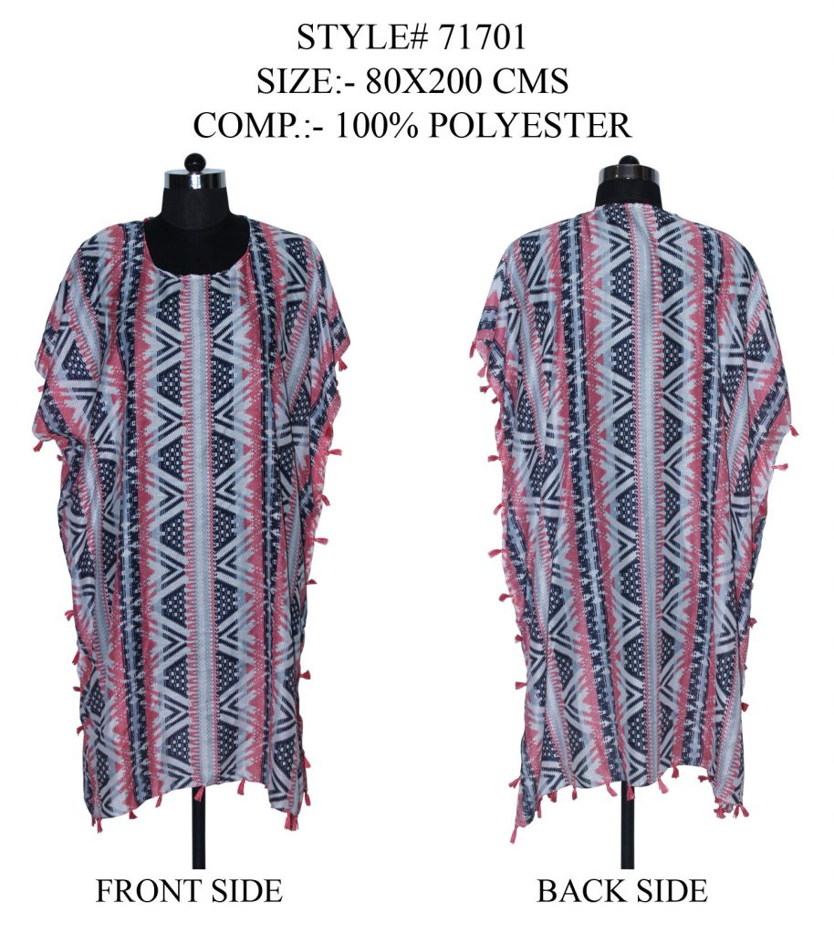 STRIPE PRINTED KAFTAN WITH FANCY TASSESL/ FRINGES WITH BLACK/MULTI COLOURS FOR WOMENS