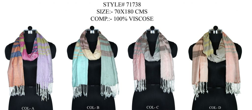 STYLISH MULTI STRIPE SHAWL IN SOFT VISCOSE WITH SELF KNOT FRINGES FOR MEN AN DWOMEN. WIDEST COLLECTI