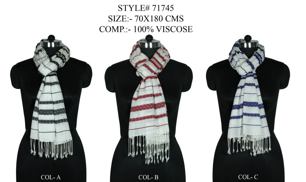 STYLISH HANDLOOM YARN DYED STOLE SCARF WITH DOBBY WOVEN STRIPE PATTERN AND SELF PASHMINA KNOT FRINGE