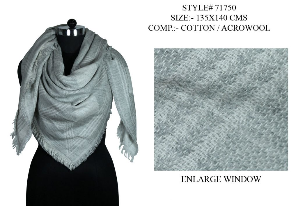 YARN DYED SQUARE SCARF IN SOFT COTTON ACRO WOOL FABRIC WITH ALL SIDES EYELASH FRINGES