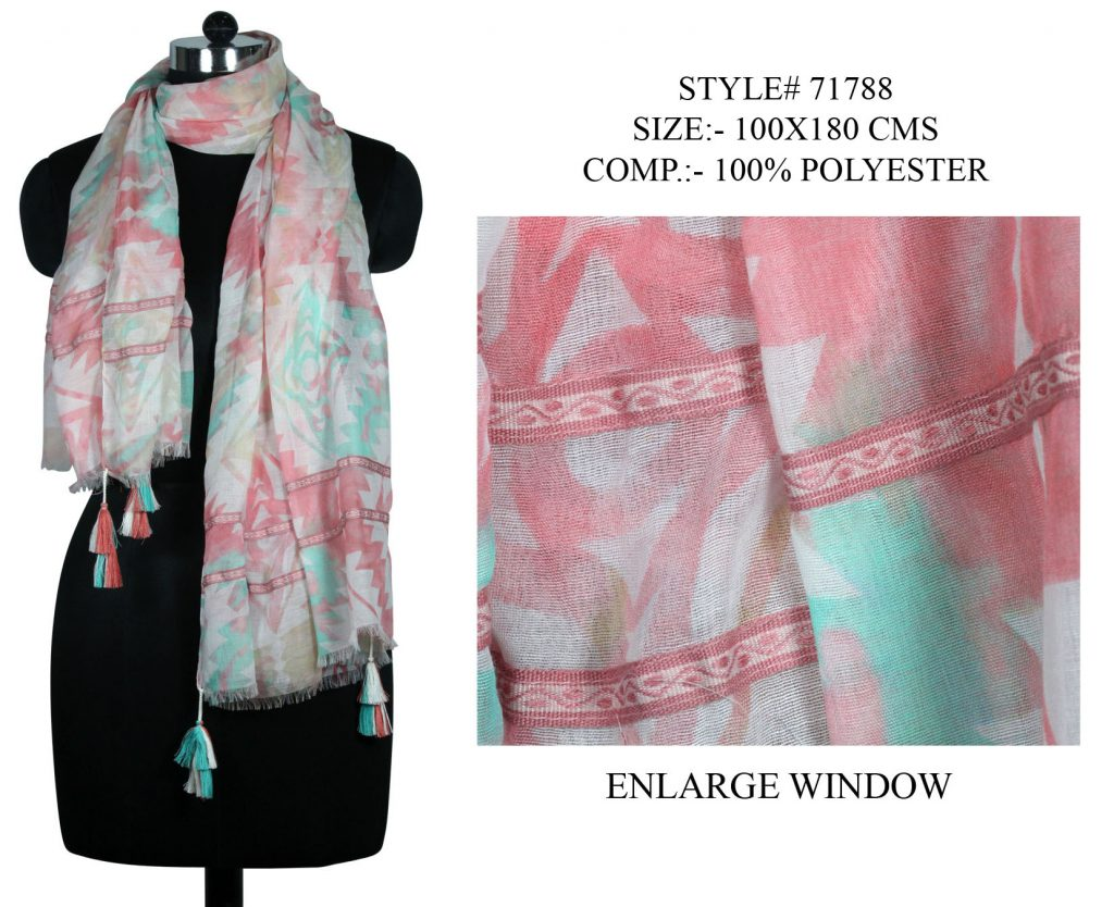 ALL OVER UNIQUE DEISGN PRINTED STOLE IN SOFT POLYESTER FABRIC WITH FANCY LACE AND   TASSELS AND EYEL