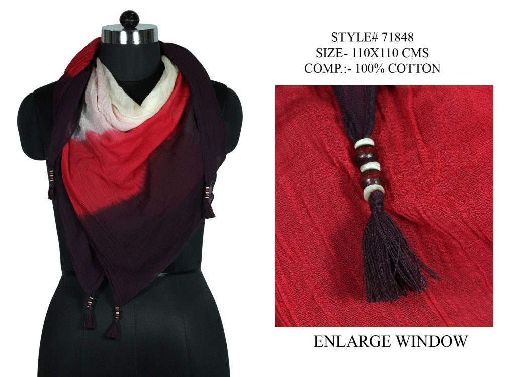 TIE DYE SQUARE SCARF IN SOFT COTTON FABRIC WITH FANCY BEADED TASSELS